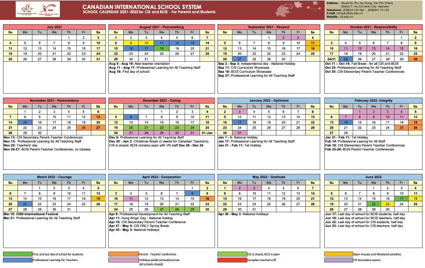 Vietnamese Calendar 2022.School Calendar Cis