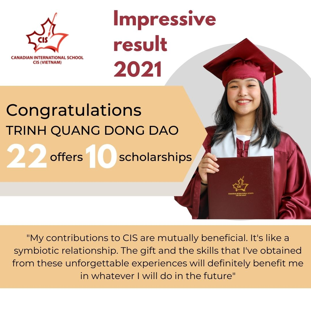 CIS Alumnus - Ms Dong Dao with 22 university offers